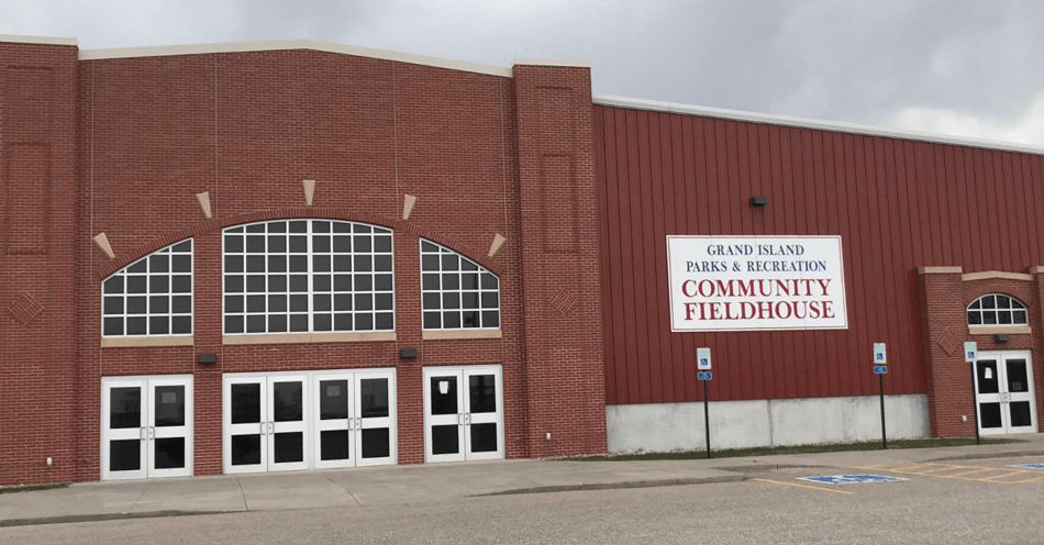 Front of the Grand Island Community Fieldhouse.